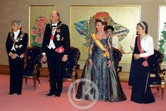 King Harald V and Queen Sonje of Norway with the Emporer and Empress of Japan,  State  visit to Japan. 2001