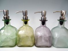 Made from upcycled Patrón bottles, these colorful soap dispensers ($25 each) have a unique, organic shape.