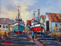 fisherman village scenes - Yahoo Canada Image Search Results Canada Images, Seascape Paintings, Primary School, Art Gallery, Arts And Crafts, Dogs, Artist, Image Search, Idea Paint
