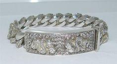 Sterling Silver Chain Biker Bracelet Rattle Snakes White Topaz HUGE 148.5 Grams #Unbranded #Chain