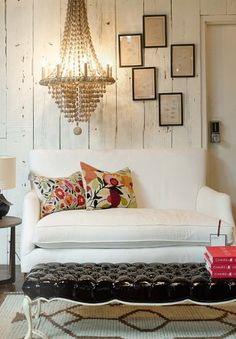Love this eclectic mix - natural wood walls with fun feminine pieces