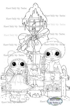 INSTANT DOWNLOAD Digi Stamps Big Eye Head Dolls Bestie Christmas Bird By Sherri Baldy