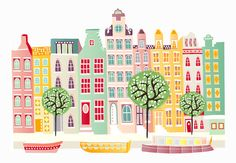 Amsterdam Canal houses Netherlands City Print A2 by lauraamiss