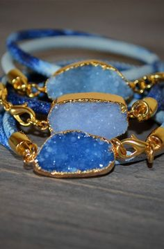 Druzy Gemstone Bracelet in denim blue with aqua blue quartz stone