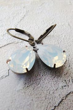 Opal Earrings Wedding Jewelry Swarovski White Opal