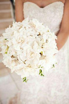 GORGEOUS Round Wedding Bouquet Featuring: White Gardenia, White Stephanotis, White Freesia>>>>