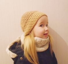 Free shipping Girl's brown hat and snood -Baby Warm Hat And Snood  - Baby Girl Winter Set - Knit Baby Girl Hat -Scarf Hat Baby Girl