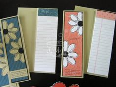 Recipe: Stamps: Pick a Petal, Define your Life, Short & Sweet Paper: River Rock, black, designer prints groovy guava and blue bayou, whisper white Ink: black Accessories: Junior Legal pads from Staples, cut lengthwise, 3/4 inch circle punch.