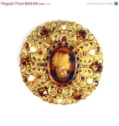 On Sale Vintage Ornate Cameo Rhinestone Faux by TheFashionDen