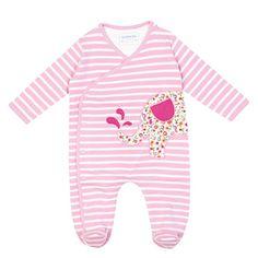 Elephant Appliqué Baby Sleepsuit