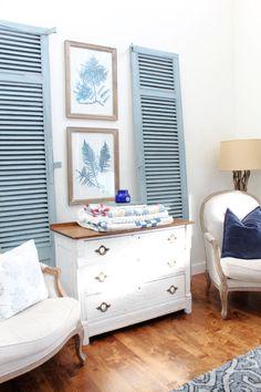 Green Dresser, Dresser As Nightstand, Milk Paint Furniture, Painting Shutters, Green Shutters, Vintage Shutters, Miss Mustard Seeds, Blue Home Decor, Home Decor Inspiration