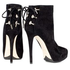 Le Silla - ankle boot in black suede calfskin with crystal corset accessory at back - LOVE the detail!