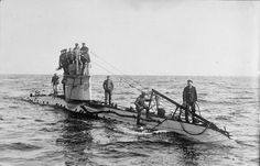 FIRST WORLD WAR 1914 - 1918 WAR SEA (Q 20220)   The crew of a German UC-1 class submarine on deck. Introduced in 1915, the submarines of this class were employed mainly on minelaying duties and carried up to twelve mines. German submarines sank 1,845,000 tons of Allied and neutral shipping between February and April 1917.