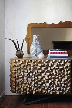 Angle-Edged Console  Anthropologie.  Could be great for sink base for our Brazillian inspired basement bathroom!!