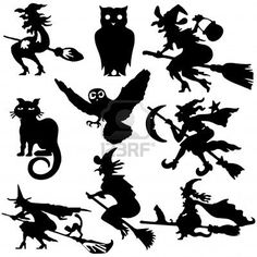 Silhouettes Of Witch Flying On Broom Illustration Cartoon Royalty Free Cliparts, Vectors, And Stock Illustration. Image 6255122.