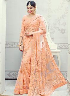 Buy Striking Embroidered Work Net Classic Designer Saree, Online
