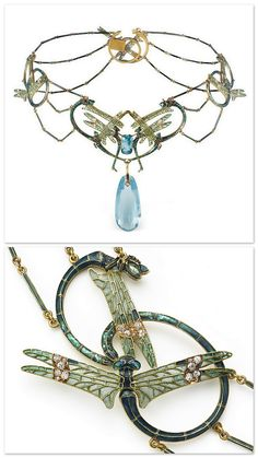 René Lalique 1902-04 - Damselflies Gold, Enamel & Gem-set Necklace: consisting of four separate panels formed from intertwined damsel-flies arranged into sinuous & symmetrical designs, the veined wings decorated w/plique-á-jour enamel & highlighted w/diamonds, the bodies in luminous opalescent enamel over a silver foil ground, the central panel supporting an aqua-marine briolette suspended below a cushion-cut aquamarine, necklace reverse in etched gold.