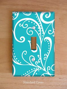 Silent Era Turquoise Vinyl Light Switch Cover Outlet Cover Wallplate Home Decor Swirls Turquoise And White Aqua Blue Home Decor