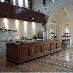 old church turned into a kitchen area=cool idea! Chapel Conversion, Church Conversions, Church Interior Design, Church Design, Painted Kitchen Floors, Take Me To Church, Welcome To My House, Property Design, Church Architecture