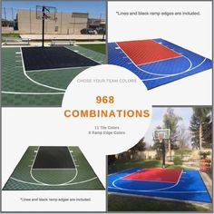 ModuTile offers backyard basketball court flooring kits with graphics, lines and multiple color tiles. Make your own custome dimentions outdoor court. Basketball Court Pictures, Backyard Basketball, Basketball Court Flooring, Outdoor Basketball Court, High School Basketball, Custom Basketball, Outdoor Tiles, Outdoor Flooring, Outdoor Spaces