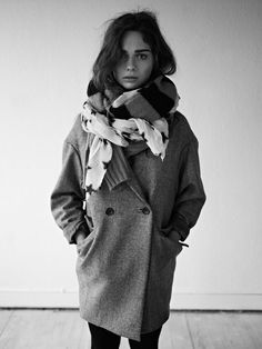 oversize wool jacket + thick scarf