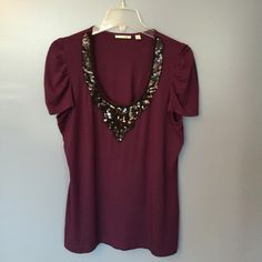 "Halogen 🌸HP🌸 Sequin Beaded Neckline Top Halogen Size L purple top with sequin and bead design on front neckline. Very stretchy         Length 25""  95% Model  5% Spandex Hand Wash     No Trades Halogen Tops Tees - Short Sleeve"