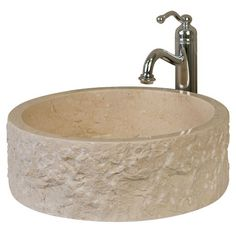 Round+Flat-Bottom+Chiseled+Carrara+Marble+Vessel+Sink