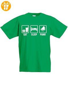 Eat Sleep Piano, Kind-druckten T-Shirt - Grün/Weiß 12-13 Jahre (*Partner-Link)