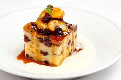 White chocolate and cranberry bread and butter pudding - James Mackenzie puts a brilliantly festive twist on this classic dessert, resulting in a luxuriously comforting dish Christmas Pudding, Christmas Desserts, Winter Desserts, Pan Gourmet, Baking Recipes, Dessert Recipes, Hot Desserts, Cake Mug, Cranberry Bread