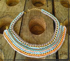 """Summer"", crocheted statement necklace"