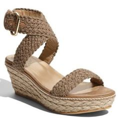 """Stuart Weitzman Alexlo espadrille wedge Crocheted straps crisscross atop a leather-lined espadrille with a wrapped wedge heel. Adjustable strap with buckle closure. Approx. heel height: 2 1/2"""" with 1"""" platform. Textile and leather upper/leather lining/rubber sole. By Stuart Weitzman; made in Spain. Salon Shoes. Excellent used condition!!! Barely worn. Color truest in first photo. Stuart Weitzman Shoes Espadrilles"""