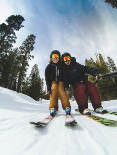 1. You can sing songs out loud together on chairlifts.(no judgement) 2. You can hug while moving down a mountain. 3. You can make sure that neither of you ever have a Gaper Gap. (especially for GoPro selfies). 4. You can impress each other by doing amazing things on skis…but mostly just really silly things… …
