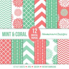Mint and Coral Digital Paper: Digital Scrapbooking Paper Variety Pack in Floral, Arrows, Quatrefoil and Chevron Patterns - Commercial Use Ok on Etsy, $4.00