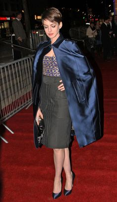 CAPE!!! NAVY CAPE! Anne Hathaway in Altuzarra via Tom & Lorenzo Haters gonna hate, but it's awesome by default  #fashion #actors