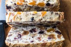 This Paleo Fruit and Nut Bread is gluten dairy and sugar free --- and it makes the most amazing morning toast! Paleo Bread, Paleo Baking, Gluten Free Baking, Gluten Free Recipes, Low Carb Recipes, Baking Recipes, Whole Food Recipes, Dessert Recipes, Banting Bread
