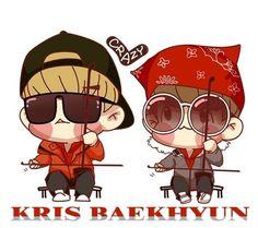 Cute exo kris & baekhyun cr to its rightful owner Cnblue, Btob, Exo Showtime, Exo Anime, Chanyeol Baekhyun, Exo Fan Art, Cartoon Fan, Cute Chibi, Kpop Fanart