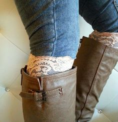 Light Beige floral Lace boot cuff accessories