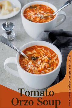 Orzo Recipes, Diet Soup Recipes, Tomato Soup Recipes, Vegetable Recipes, Dinner Recipes, Mediterranean Soup Recipes, Mediterranean Diet Food List, Tomato Rice Soup, Orzo Soup