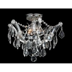 Bayou Three Light Chrome Finish With Clear Crystals Ceiling Light Worldwide Lighting Corp