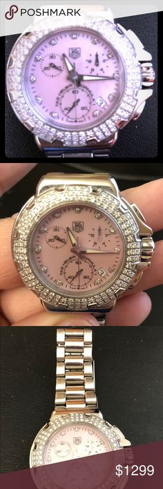 Women's Tag Heur Formula 1 Diamond Bezel watch Chronograph Luxury Swiss Quartz  Pink Mother of Pearl Dial Diamond Bezel Stainless Steel Bracelet #CAC1311 REU0318 Water resistant rating: Divers 200m  Needs new battery. Tag Heuer Jewelry