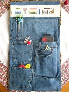 organizer of old jeans