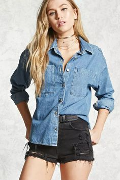 Product Name:Dolphin-Hem Denim Shirt, Category:top_blouses, Price:22.9