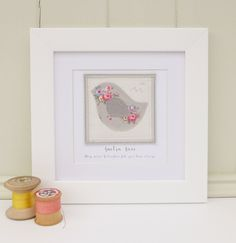 Personalised Framed Picture with little bird appliqué, Mother's Day, keepsake, with printed name & message, birthday gift, new baby gift by AngelcakeD on Etsy https://www.etsy.com/listing/240866438/personalised-framed-picture-with-little