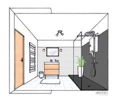 croquis salle de bain rnovation en gris blanc et bois sophie b dcoratrice d - Interieur Meuble De Salle De Bain Ikea Godmorgon
