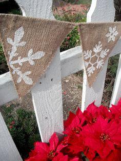 Christmas Decorations, Winter Wonderland Banner REVERSIBLE for Christmas decor, Pennant. $28.50, via Etsy.