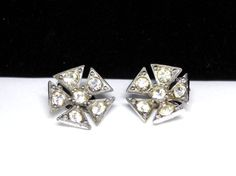 New Listings Daily - Follow Us for UpDates -  Bogoff Rhinestone Earrings - Clip on Earrings - Flower Design - Triangle Shaped Petals - Clear Rhinestones - #Vintage 1950's Designer Signed offered by #TheJewelSeeker on Ets... #vintage #jewelry #teamlove #etsyretwt #ecochic #thejewelseeker