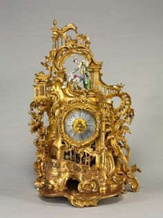 Clock, movement maker Baumgartinger, c.1750 (carved and gilded wood, faience)