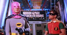 """Batman starring Adam West 1966 - The Mad Hatter stole batman's cowl and turned it PINK, now you know. just more Pop Culture Fun that makes our lives worth living and ready to scream out """"you kick ass, Adam West"""""""