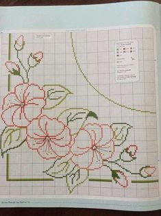 Border flower Filet Crochet, Crochet Lace, Cross Stitch Patterns, Cross Stitch Borders, Cross Stitch Designs, Cross Stitching, Cross Stitch Embroidery, Blackwork, Needle And Thread