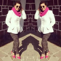 Gola pink - gola rosa - casaco branco - calça camuflada - calça camuflagem - scarpin pink - sapato pink - shoes pink